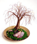 Sal Villano Wire Tree Sculpture - TINYブラスOAK - ミニワイヤー木の彫刻、サルVillanoで